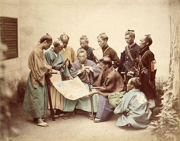 Samuráis del clan Chosyu, durante el periodo de guerra Boshin.