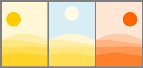 Tríptico de tres ilustraciones con el amananecer, mediodía y atardecer en el desierto.