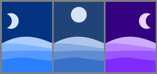 Tríptico de tres ilustraciones de tres de las fases lunares en el desierto.