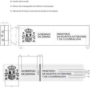 Medidas usadas en la imagen institucional de los Ministerios de España