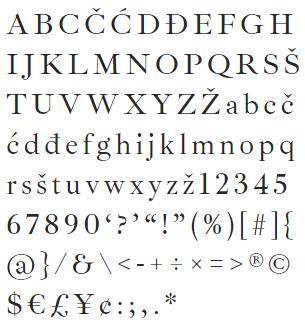 Muestra de la fuente tipográfica Ibarra Real Nova
